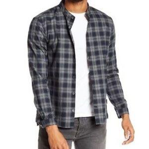 John Varvatos Blue Check Plaid Reversible Shirt